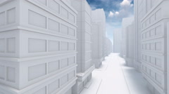 Flight through abstract city empty street 4K Stock Footage