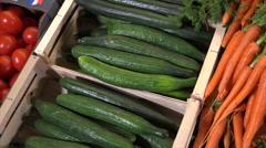 Vegetables For Sale At Supermarket Stock Footage