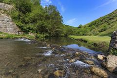 Weir, River Dove, Dovedale and Milldale in spring, White Peak, Peak District, Stock Photos
