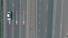 Aerial overlooking the hiway with cars, trucks and other transport Stock Footage