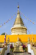Temple chedi (stupa) at Doi Kham (Wat Phra That Doi Kham) (Temple of the Golden Stock Photos
