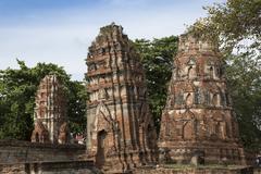 Khmer style prangs (stupas) (chedis) at Wat Mahathat, Ayutthaya, UNESCO World Stock Photos