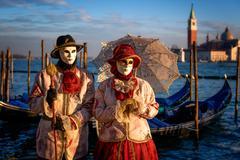 Models of the Venice Carnival, Venice, UNESCO World Heritage Site, Veneto, Stock Photos