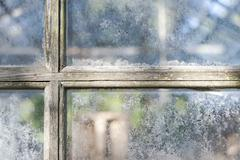 Old greenhouse window panes Stock Photos
