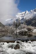 Early in morning frost in Mount Siguniang, an area of outstanding natural beauty Stock Photos