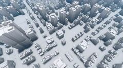 Flight over abstract white 3D city 4K animation Stock Footage