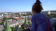 Back View of Girl on Lviv City Observation Deck Stock Footage