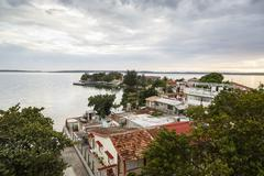 View over Punta Gorda and the Cienfuegos Bay, Cienfuegos, Cuba, West Indies, Stock Photos