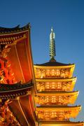 The Five Storey Pagoda at Sensi-ji Temple at night, Tokyo, Japan, Asia Stock Photos