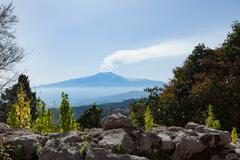 The awe inspiring Mount Etna, UNESCO World Heritage Site and Europe's tallest Stock Photos