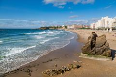 Large rock on the beach and seafront in Biarritz, Pyrenees Atlantiques, Stock Photos