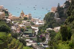 View over Positano, Costiera Amalfitana (Amalfi Coast), UNESCO World Heritage Stock Photos