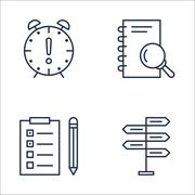 Set Of Project Management Icons On Decision Making, Research, Deadline And Mo Piirros