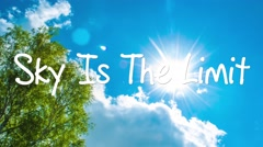 The Sky Is The Limit cloud with a blue sky. Man Hand writing  with marker Stock Footage