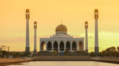 Timelapse view of Center Mosque Songkhla in evening,Thailand. Stock Footage