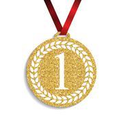 Art Golden Medal Icon Sign First Place. Vector Illustration Stock Illustration