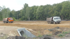 SAMARA, RUSSIA -  Road construction. Excavator , constructi Stock Footage