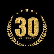 Template Logo 30 Years Anniversary Vector Illustration Stock Illustration