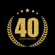 Template Logo 40 Years Anniversary Vector Illustration Stock Illustration