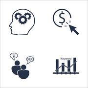 Set Of SEO, Marketing And Advertising Icons On Creativity, SEO Consulting, Ke Stock Illustration