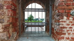 Iron bars in the old castle on the door Stock Footage