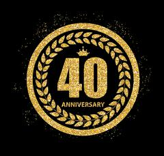 Template Logo 40 Years Anniversary Vector Illustration Stock Illustration
