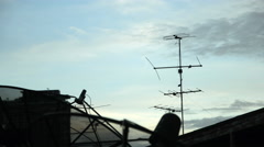 Antenna on rooftop Stock Footage