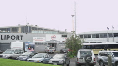 Heliport besides Ports of Auckland Stock Footage