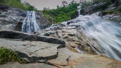 Panning timelapse of Ton Nga Chang waterfall at Songkhla,Thailand. Stock Footage