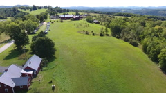 Low pass over Farm in the Northeast Kingdom of Vermont Stock Footage