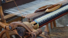 Weaving Loom and thread of yarn Stock Footage