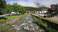 Small stream in Pozza di Fassa Stock Footage