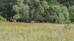 Riders practice dressage horse in the field. Far distance shot. Stock Footage