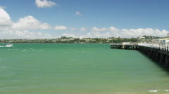 Devonport Jetty and Skyline of Auckland Stock Footage