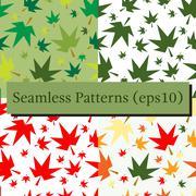 Autumn fall maple leaves seamless pattern background set Stock Illustration