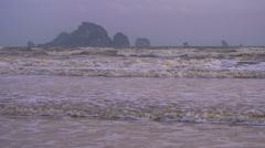 Waves on Ao Nang Beach in Low Season, Krabi Province, Thailand. Stock Footage