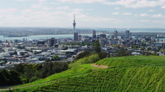 View of Auckland Downtown and Mount Eden Crater Stock Footage