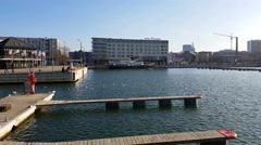 Empty pier at a sunny spring day, in old harbour of Tallin, Estonia Stock Footage