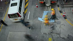 Road workers on Hong Kong streets. Motion blur effect Stock Footage