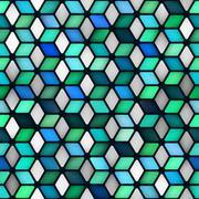 Vector Seamless Multicolor Gradient Cube Shape Rhombus Grid Geometric Pattern Stock Illustration