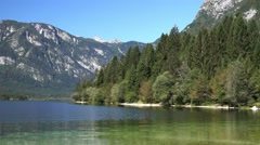 Beautiful summer morning scene from Bohinj Lake in Slovenia Stock Footage