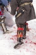 Sheath and the elements of Khanty menswear. Stock Photos