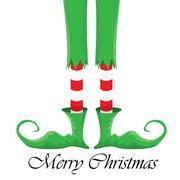 Christmas cartoon elfs legs on white background Stock Illustration