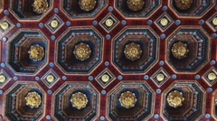 Beautiful carved wooden ceiling in the castle. Stock Footage