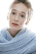 Young real blond woman in blue scarf close up isolated, real lifestyle people Stock Photos