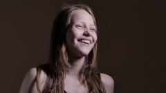 Teen girl having fun with funny faces, 4K UHD Stock Footage