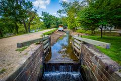 The C & O Canal, at Chesapeake & Ohio Canal National Historical Park, Marylan Stock Photos