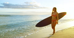 Surfer Girl Beach Susnet Stock Footage