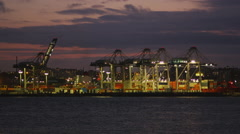 View of Container Harbor at Night. Stock Footage