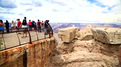 Tourists visiting the Mather Point at the Grand Canyon. Stock Footage